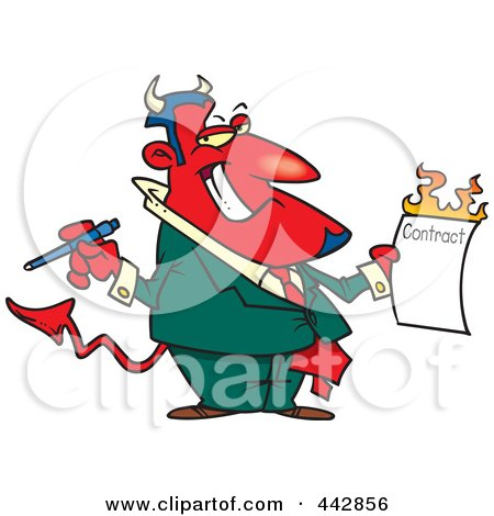 Royalty-Free (RF) Clip Art Illustration of a Cartoon Devil Holding A Hot Contract by toonaday