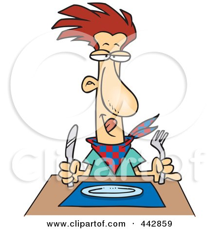 Royalty-Free (RF) Clip Art Illustration of a Cartoon Hungry Man Waiting For His Dinner by toonaday
