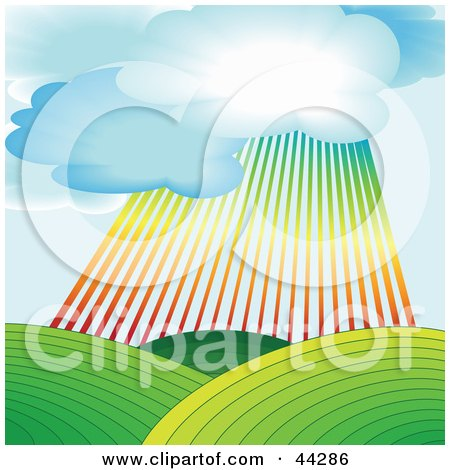Rainbow Shining Down Over Green Agricultural Hills Posters, Art Prints