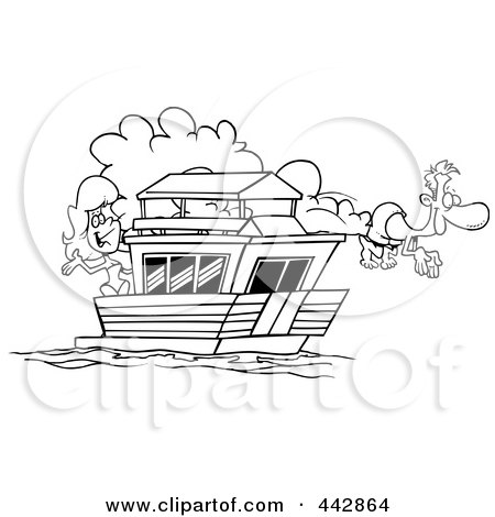 Royalty-Free (RF) Clip Art Illustration of a Cartoon Black And White Outline Design Of A Couple On Their House Boat by toonaday