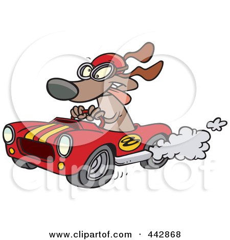 Royalty-Free (RF) Clip Art Illustration of a Cartoon Dog Racing A Hot Rod by toonaday