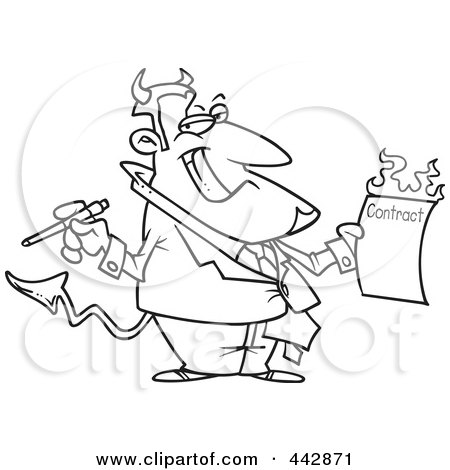 Royalty-Free (RF) Clip Art Illustration of a Cartoon Black And White Outline Design Of A Devil Holding A Hot Contract by toonaday