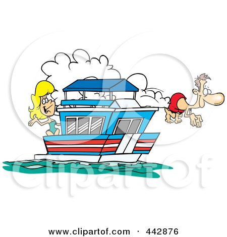 Royalty-Free (RF) Clip Art Illustration of a Cartoon Couple On Their House Boat by toonaday