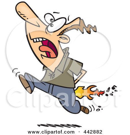 Royalty-Free (RF) Clip Art Illustration of a Cartoon Man Running With Flames by toonaday