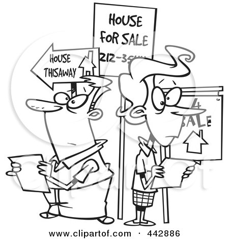 Royalty-Free (RF) Clip Art Illustration of a Cartoon Black And White Outline Design Of A Couple House Hunting by toonaday
