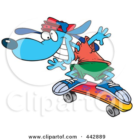 Royalty-Free (RF) Clip Art Illustration of a Cartoon Blue Skateboarding Dog by toonaday