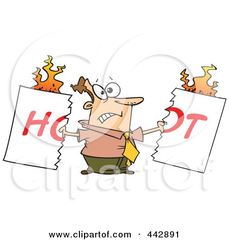 Royalty-Free (RF) Clip Art Illustration of a Cartoon Man Tearing A Hot Sign by toonaday