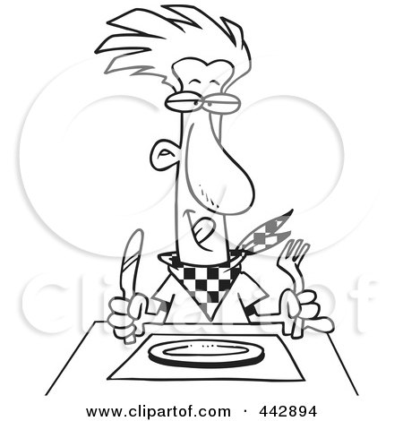 Royalty-Free (RF) Clip Art Illustration of a Cartoon Black And White Outline Design Of A Hungry Man Waiting For His Dinner by toonaday