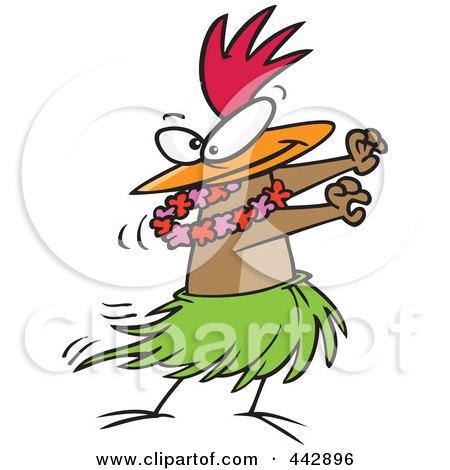 Cartoon Chicken Hula Dancing Posters, Art Prints
