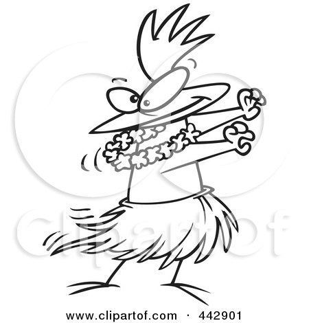 Cartoon Black And White Outline Design Of A Chicken Hula Dancing Posters, Art Prints