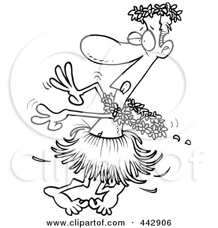 Royalty-Free (RF) Clip Art Illustration of a Cartoon Black And White Outline Design Of A Drunk Man Hula Dancing by toonaday
