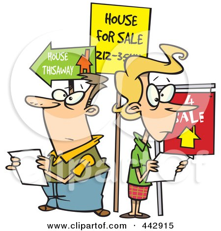 Royalty-Free (RF) Clip Art Illustration of a Cartoon Couple House Hunting by toonaday