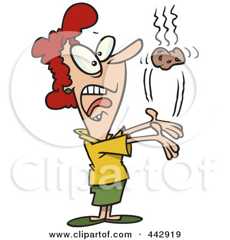 Royalty-Free (RF) Clip Art Illustration of a Cartoon Businesswoman Tossing A Hot Potato by toonaday