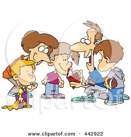 Royalty-Free (RF) Clip Art Illustration of a Cartoon Huddled Family Reading A Football Play Book by toonaday