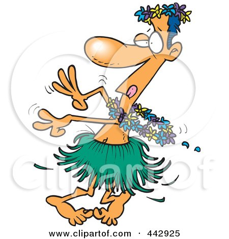 Royalty-Free (RF) Clip Art Illustration of a Cartoon Drunk Man Hula Dancing by toonaday