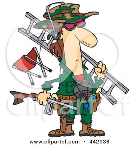 Royalty-Free (RF) Clip Art Illustration of a Cartoon Hunter Carrying His Gear by Ron Leishman