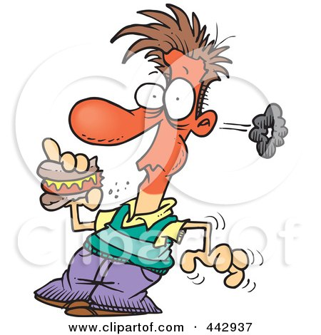 Royalty-Free (RF) Clip Art Illustration of a Cartoon Man Eating A Spicy Hot Dog by toonaday