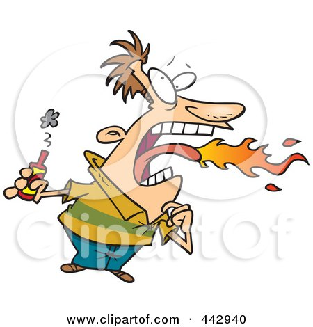 Royalty-Free (RF) Clip Art Illustration of a Cartoon Firey Mouthed Man With Hot Sauce by toonaday