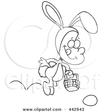 Royalty-Free (RF) Clip Art Illustration of a Cartoon Black And White Outline Design Of A Boy Hopping In An Easter Bunny Costume by toonaday