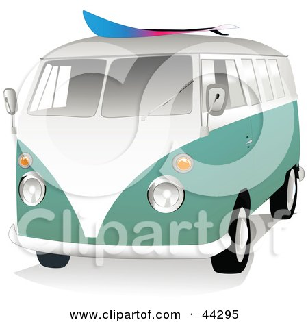 Clipart Illustration of a 3d Green And White VW Van With A Surf Board On The Roof by toonster