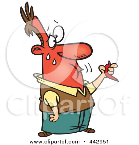 Royalty-Free (RF) Clip Art Illustration of a Cartoon Man Eating A Hot Pepper by toonaday