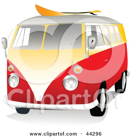 Clipart Illustration of a 3d Orange And Yellow VW Van With A Surf Board On The Roof by toonster