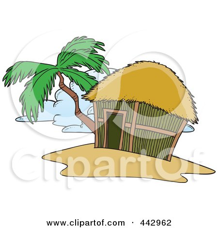 Royalty-Free (RF) Clip Art Illustration of a Cartoon Tropical Hut On An Island by toonaday