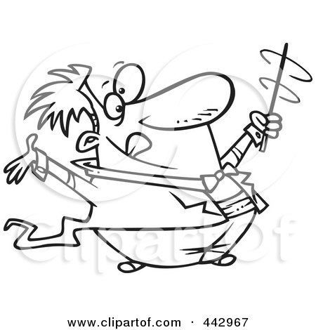 cartoon black and white outline design of a music conductor swirling his baton