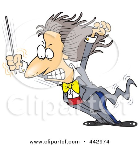 Royalty-Free (RF) Clip Art Illustration of a Cartoon Music Conductor Grimacing by toonaday