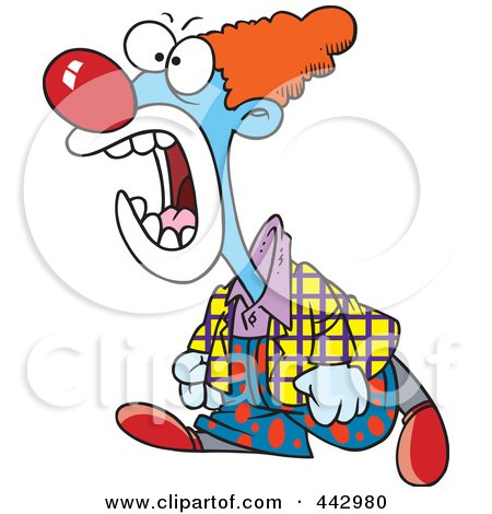 Royalty-Free (RF) Clip Art Illustration of a Cartoon Mad Clown Yelling by toonaday