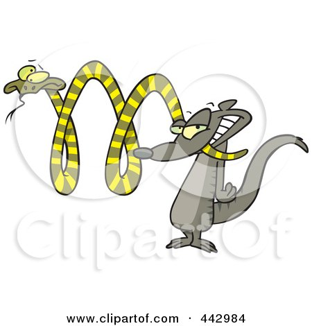 Royalty-Free (RF) Clip Art Illustration of a Cartoon Mongoose Attacking A Snake by toonaday