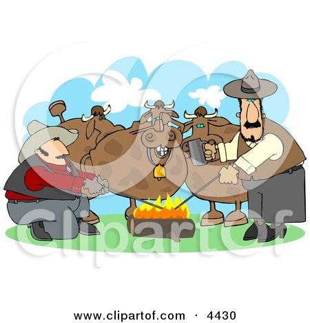 Male Ranchers Heating Branding Irons In A Campfire Beside Their Cattle Clipart