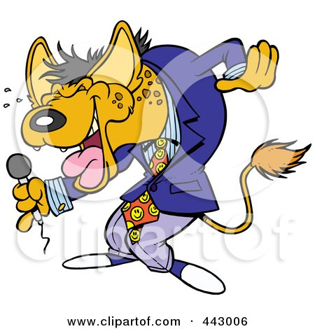 Royalty-Free (RF) Clip Art Illustration of a Cartoon Hyena Comedian Laughing by toonaday