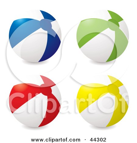 Royalty-free (RF) Clip Art Of Four Inflatable Beach Balls: Blue, Green, Red, and Yellow by michaeltravers