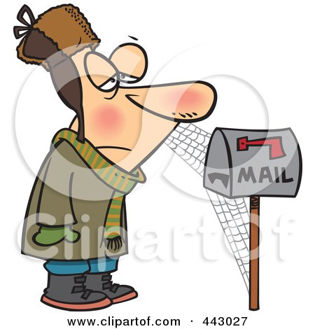 Royalty-Free (RF) Clip Art Illustration of a Cartoon Man Waiting By Mailbox, With Cobwebs by toonaday