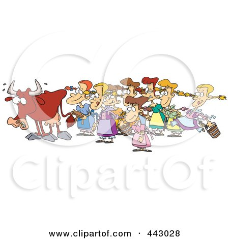 Royalty-Free (RF) Clip Art Illustration of a Cartoon Cow With Eight Milking Maids by toonaday