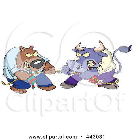 Royalty-Free (RF) Clip Art Illustration of a Cartoon Market Bull And Bear Engaged In Tug Of War by toonaday