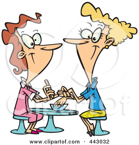 Royalty-Free (RF) Clip Art Illustration of a Cartoon Pleasant Manicurist Working On A Client by toonaday