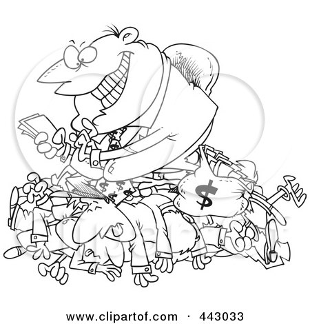 Royalty-Free (RF) Clip Art Illustration of a Cartoon Black And White Outline Design Of A Greedy Manager Counting His Money And Sitting On His Employees by toonaday