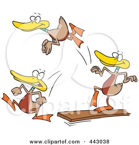 Royalty-Free (RF) Clip Art Illustration of Cartoon Mallard Ducks Jumping Off Of A Diving Board by toonaday
