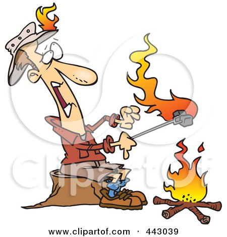 Camping W/KLC 443039-Royalty-Free-RF-Clip-Art-Illustration-Of-A-Cartoon-Man-Roasting-Marshmallows-And-Catching-His-Hat-On-Fire