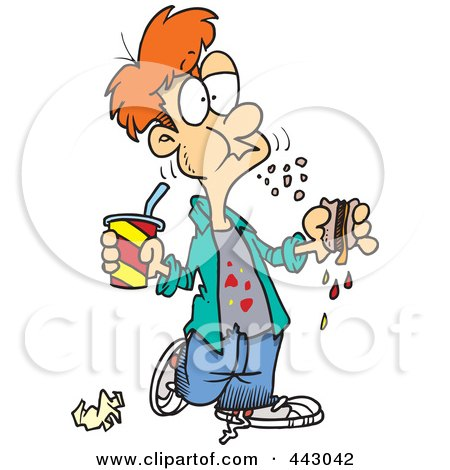 Of A Cartoon Bad Mannered Boy Eating Sloppy Sandwich By Ron Leishman