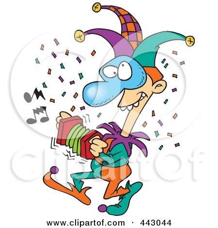 Royalty-Free (RF) Clip Art Illustration of a Cartoon Mardi Gras Jester by toonaday