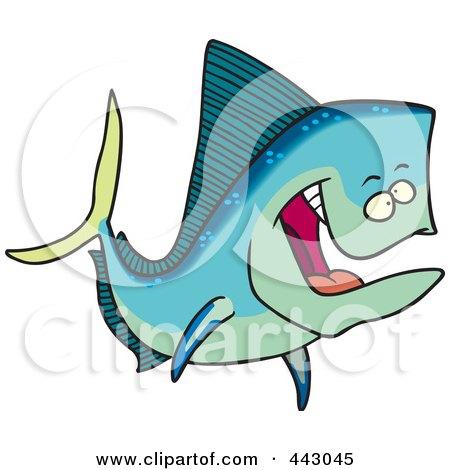 Royalty-Free (RF) Clip Art Illustration of a Cartoon Mahi Mahi Fish by toonaday