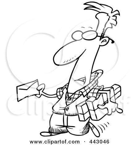 Royalty-Free (RF) Clip Art Illustration of a Cartoon Black And White Outline Design Of A Man Mailing A Letter And Parcels by toonaday