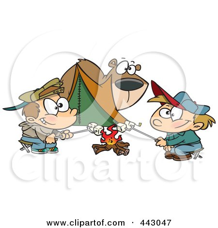 Royalty-Free (RF) Clip Art Illustration of a Cartoon Bear Watching Camping Boys Roast Marshmallows by toonaday