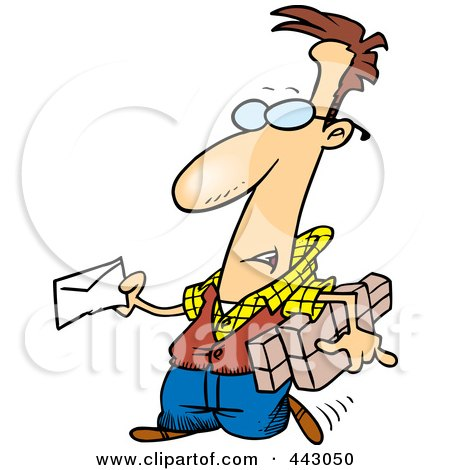 Royalty-Free (RF) Clip Art Illustration of a Cartoon Man Mailing A Letter And Parcels by toonaday