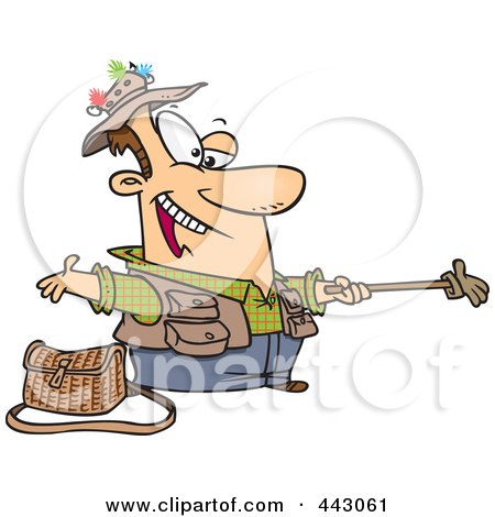 Royalty-Free (RF) Clip Art Illustration of a Cartoon Fisherman Holding Out A Glove On A Stick by toonaday