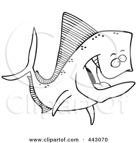 Royalty-Free (RF) Clip Art Illustration of a Cartoon Black And White Outline Design Of A Mahi Mahi Fish by toonaday