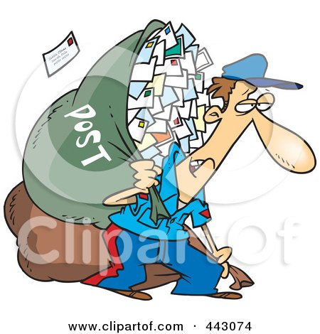 Royalty-Free (RF) Clip Art Illustration of a Cartoon Tired Mail Man Carrying A Big Bag by toonaday